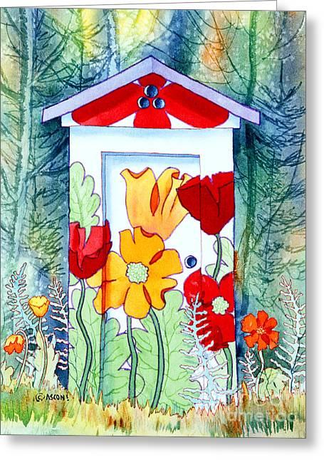 Poppy Potty Greeting Card by Teresa Ascone