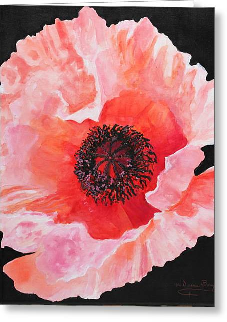 Greeting Card featuring the painting Poppy Power by M Diane Bonaparte