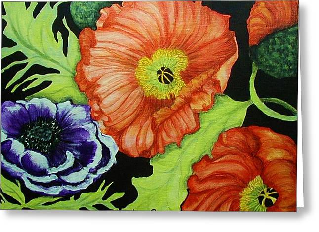Poppy Surprise Greeting Card by Diana Dearen