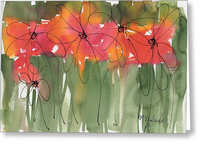 Poppy To Posy Greeting Card by Kathleen McElwaine