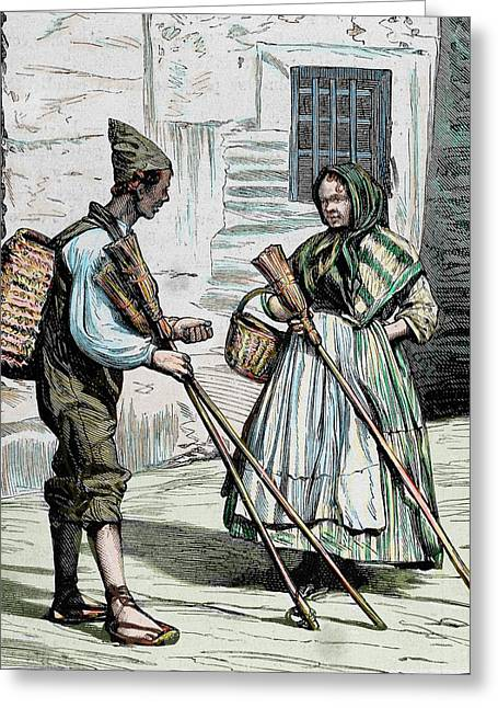 Popular Types Sellers Of Brooms Greeting Card by Prisma Archivo