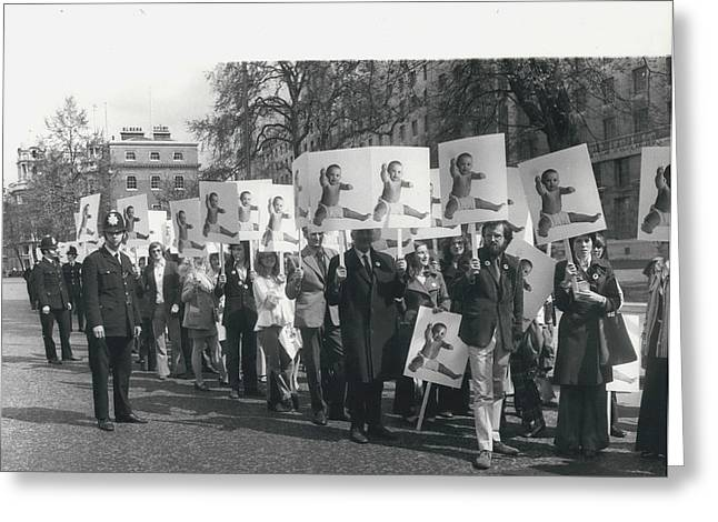 Population Day March Greeting Card by Retro Images Archive