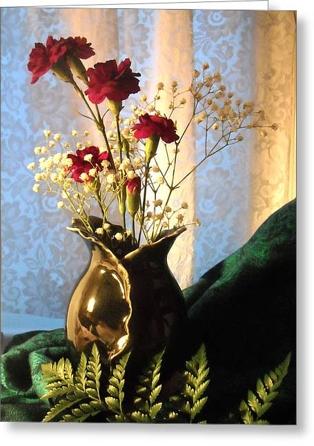 Porcelain Petal Vase 1 With Carnations Greeting Card