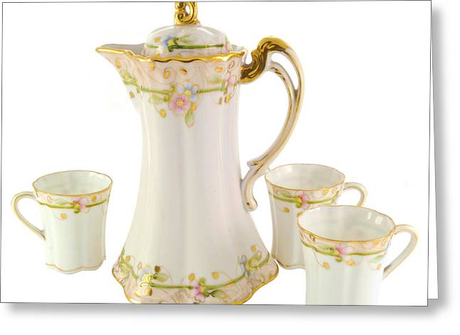 Porcelain Pitcher And Cups Greeting Card