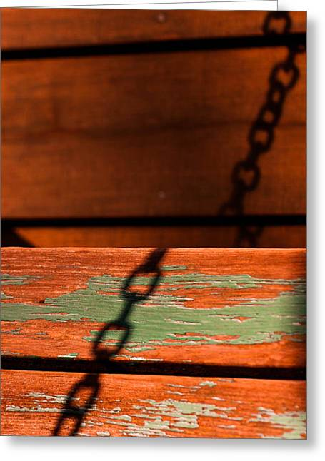 Greeting Card featuring the photograph Porch Chain Reflections by Haren Images- Kriss Haren