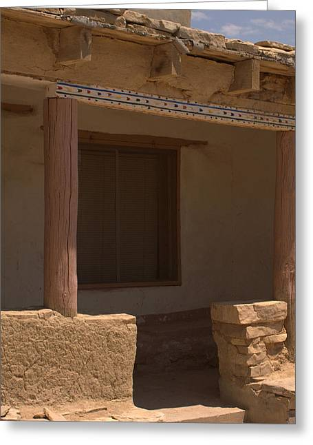 Porch Of Pueblo Home Greeting Card by James Gay