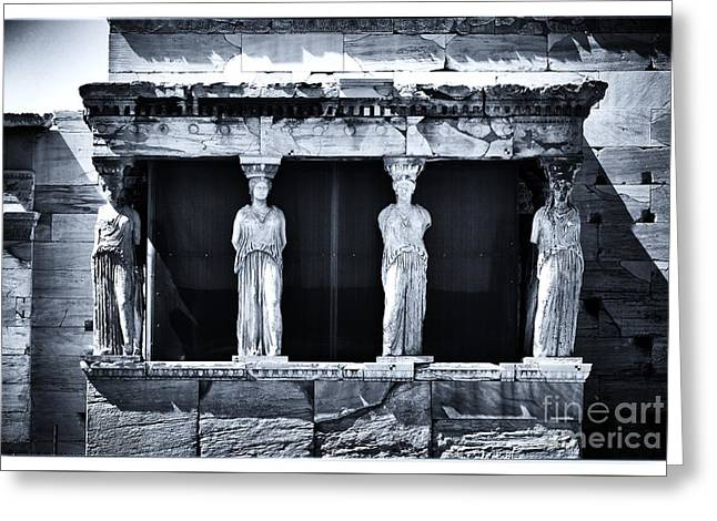 Porch Of The Caryatids Greeting Card by John Rizzuto
