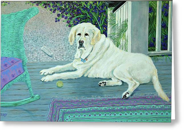 Porch Pooch Greeting Card by Dwain Ray