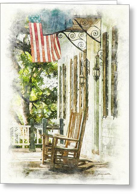 Porch Rocker At The Kaminski House Greeting Card