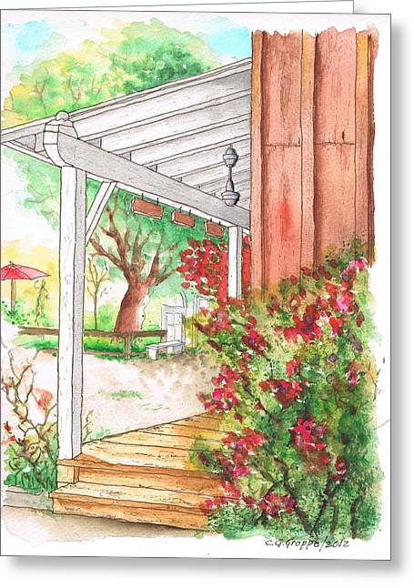 Porch With Flowers In Calabazas - California Greeting Card