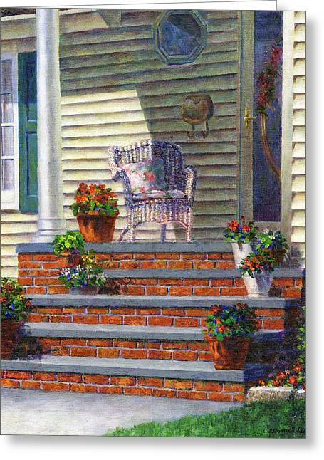 Porch With Pots Of Geraniums Greeting Card by Susan Savad