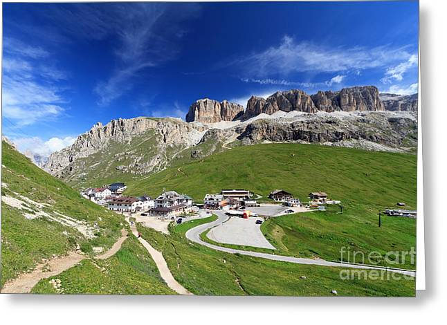 Pordoi Pass And Mountain Greeting Card