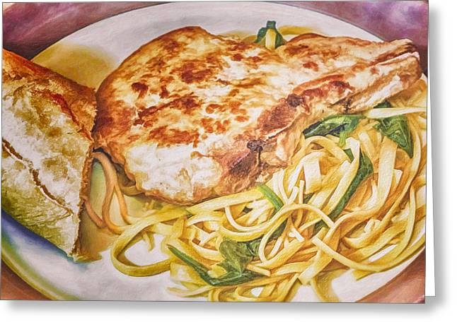 Pork Chop Noodles And French Bread Greeting Card