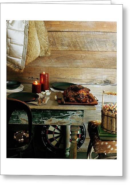 Pork With Candles Greeting Card