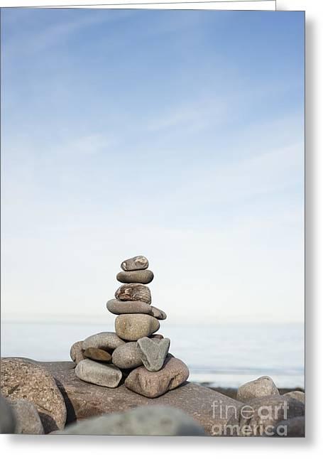 Porlock Weir Stone Stack Greeting Card by Anne Gilbert