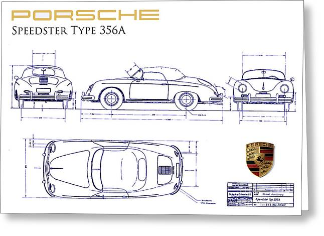 Porsche 356a Blueprint  Greeting Card