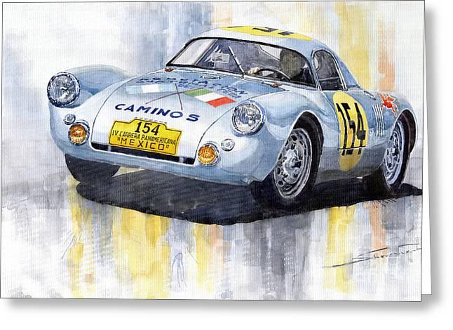 Porsche 550 Coupe 154 Carrera Panamericana 1953 Greeting Card by Yuriy  Shevchuk