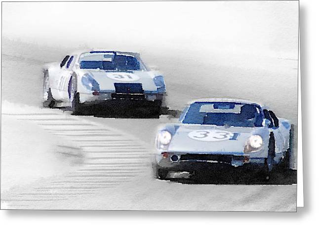 Porsche 904 Racing Watercolor Greeting Card
