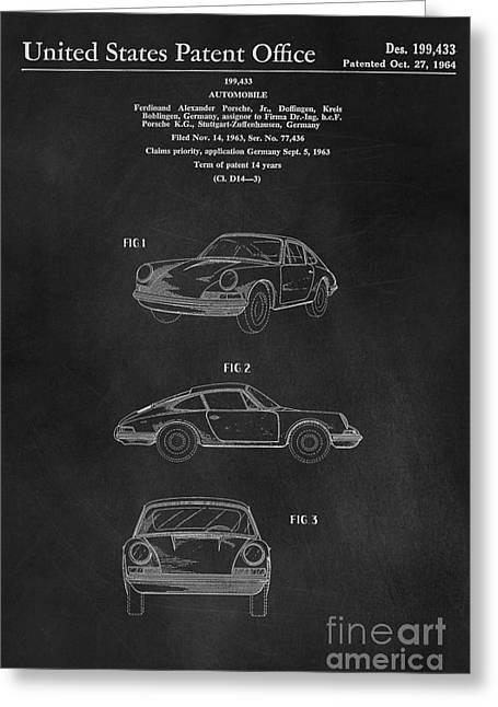 Porsche 911 Carrera 1964 Patent Art  Greeting Card by Edward Fielding