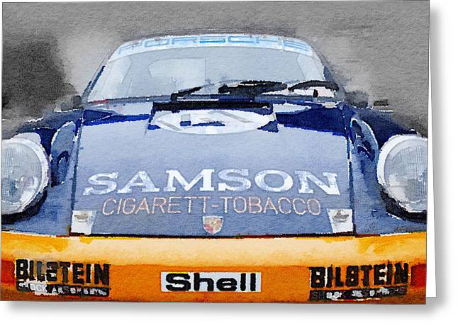 Porsche 911 Front End Watercolor Greeting Card by Naxart Studio