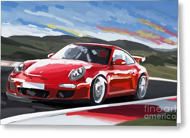 Porsche 911 Gt3 Impressionist Greeting Card by Tim Gilliland