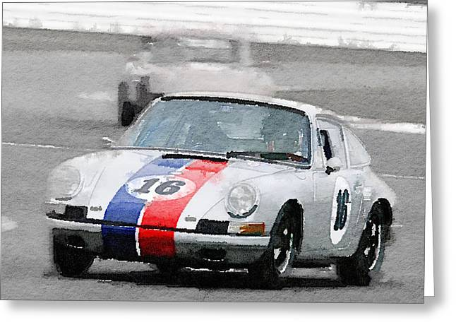 Porsche 911 Race In Monterey Watercolor Greeting Card