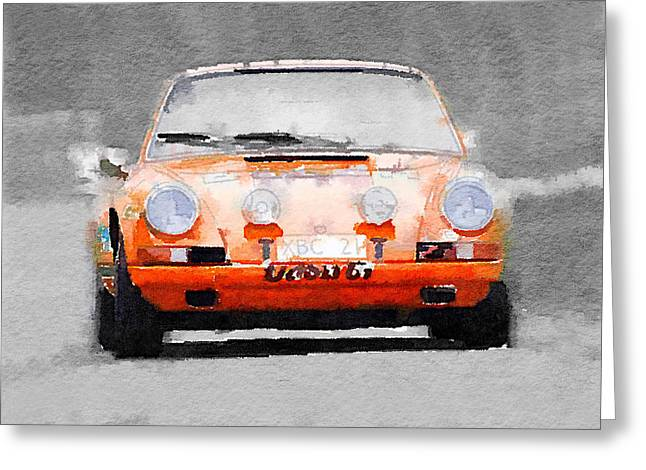 Porsche 911 Race Track Watercolor Greeting Card
