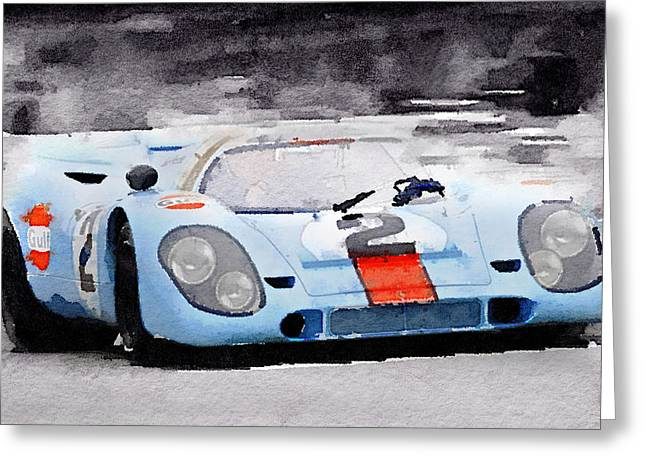 Porsche 917 Gulf Watercolor Greeting Card by Naxart Studio