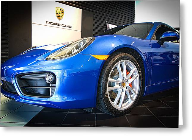 Porsche Cayman S In Sapphire Blue Greeting Card