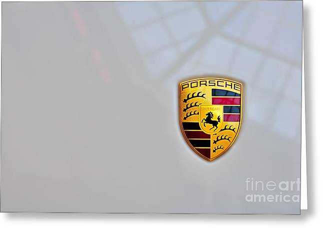 Porsche Emblem Greeting Card by Andres LaBrada