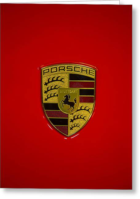 Porsche Emblem Red Hood Greeting Card