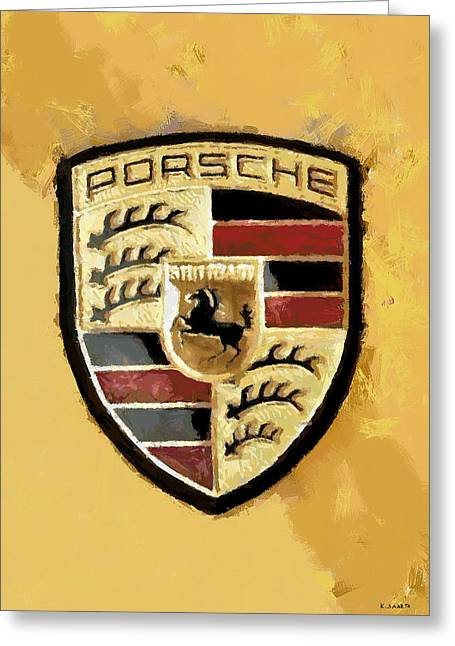 Greeting Card featuring the digital art Porsche Heritage by Kai Saarto