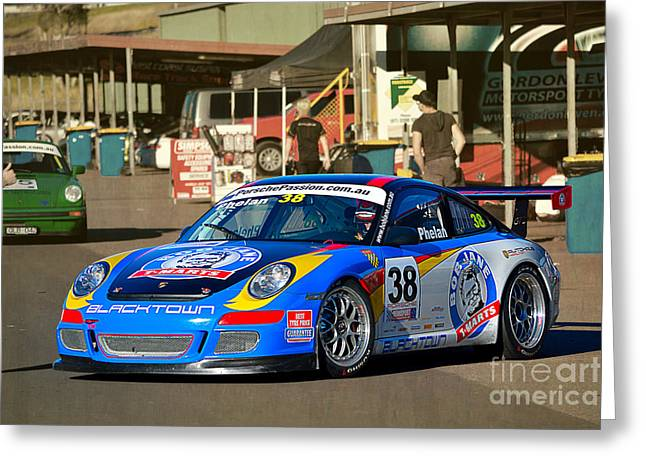 Porsche In The Pits Greeting Card