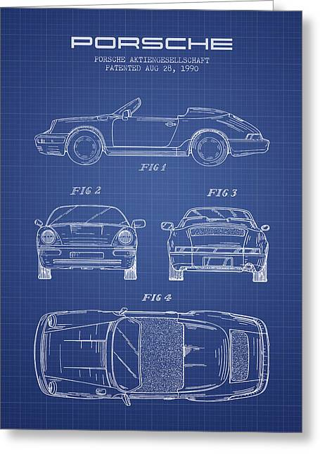 Porsche Patent From 1990 - Blueprint Greeting Card by Aged Pixel