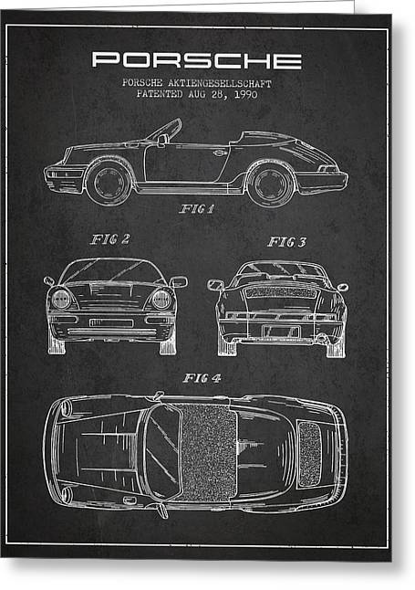 Porsche Patent From 1990 - Dark Greeting Card by Aged Pixel