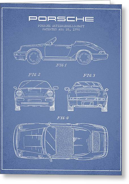 Porsche Patent From 1990 - Light Blue Greeting Card by Aged Pixel