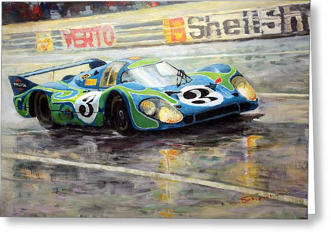 Porsche Psychedelic 917lh  1970  Le Mans 24  Greeting Card by Yuriy Shevchuk