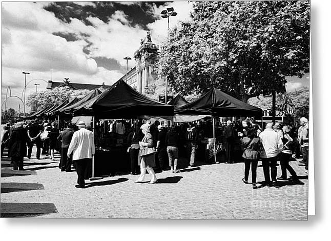 Port Antic Antiques Market On A Sunday Morning In Barcelona Catalonia Spain Greeting Card by Joe Fox