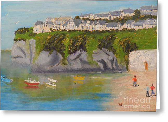 Greeting Card featuring the painting Port Asaac Cornwell by Pamela  Meredith