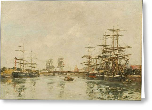 Port Dhonfleur Greeting Card by Eugene Louis Boudin