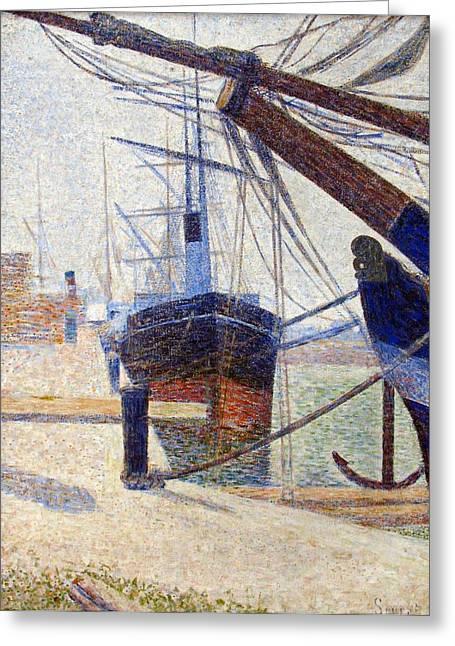Port In Honfleur Greeting Card by Georges Seurat