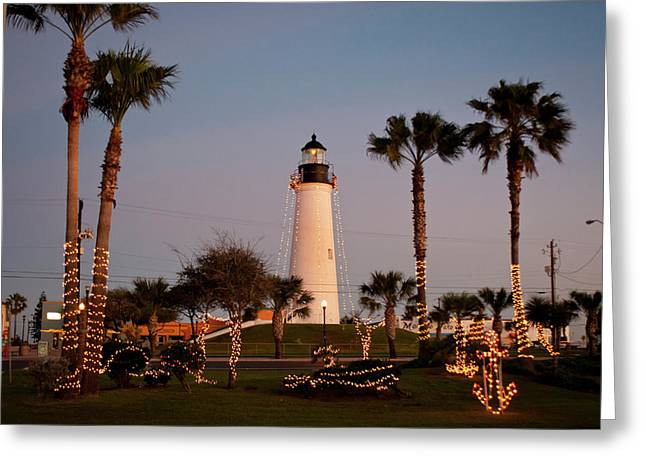 Port Isabel Lighthouse And Christmas Greeting Card by Larry Ditto
