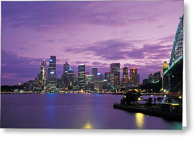 Port Jackson, Sydney Harbor And Bridge Greeting Card