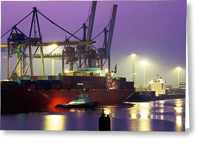 Port, Night, Illuminated, Hamburg Greeting Card by Panoramic Images