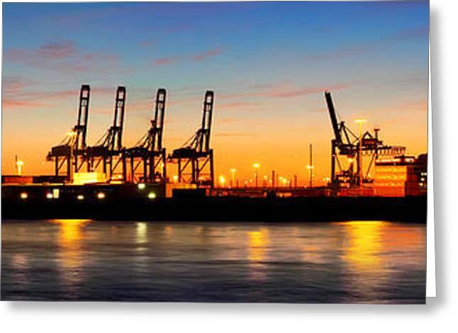 Port Of Hamburg Panorama Greeting Card