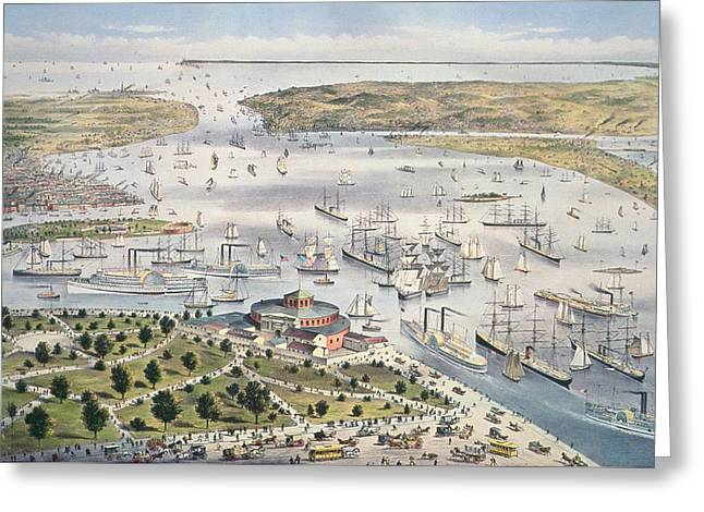 Port Of New York, Looking South Greeting Card by Currier and Ives