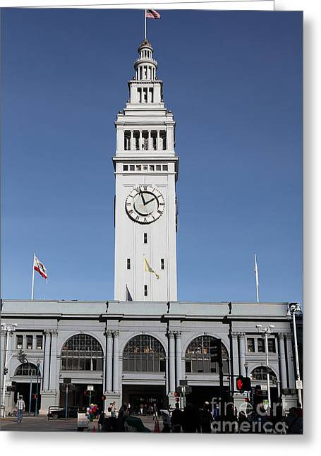 Port Of San Francisco Ferry Building On The Embarcadero - 5d20756 Greeting Card by Wingsdomain Art and Photography