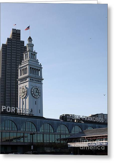 Port Of San Francisco Ferry Building On The Embarcadero - 5d20833 Greeting Card by Wingsdomain Art and Photography
