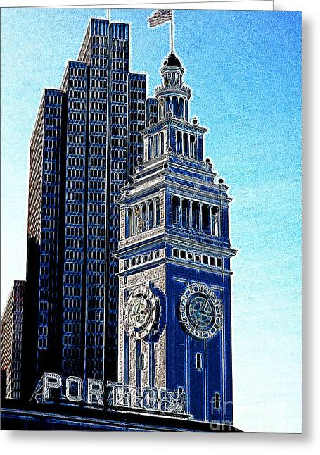 Port Of San Francisco Ferry Building On The Embarcadero 5d20834 Artwork Greeting Card by Wingsdomain Art and Photography