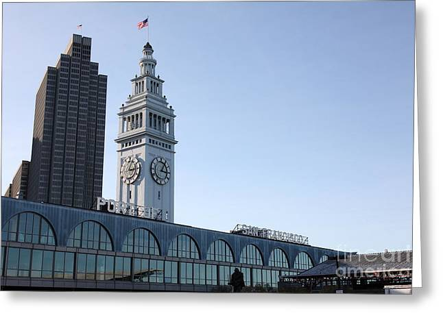 Port Of San Francisco Ferry Building On The Embarcadero - 5d20835 Greeting Card by Wingsdomain Art and Photography